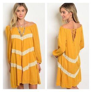 Dresses & Skirts - NWT Mustard off the shoulder dress